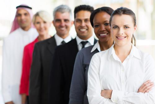 A line of people wearing professional clothing