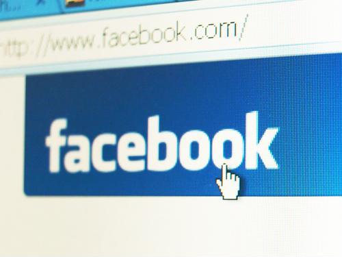 Facebook logo with internet address toolbar above it.
